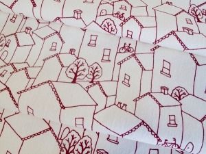 Rooftops in Deep Red by Lara Cameron at InkandSpindle.com